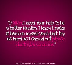 O Allah, I need Your help to be a better Muslim. I know I make it hard on myself and don't try as hard as I should but please don't give up on me.