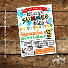 Summer Party Bash invitation birthday pool party invite digital printable invitation you print 13586 by myooakboutique on Etsy