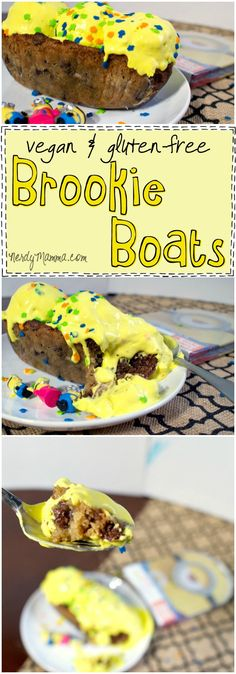 I made these awesome vegan and gluten-free brookie boats for the Minion's movie DVD release...so good...so awesomely yummy... #ad #cbias #MinionsMovieNight