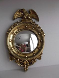 Syroco Wood Gold Wash Eagle Convex Mirror Vintage Home Decor from saltymaggie on Ruby Lane