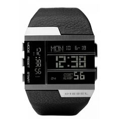 deisel watch | Diesel SBA Digital Oversized Chronograph Leather Mens Watch DZ7190
