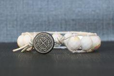 wrap bracelet  white aurora borealis crystal on by CorvusDesign