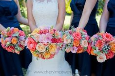 Navy, coral and pink wedding bouquets. Flowers by www.botanica-flowers.co.za. Photography by www.cherylmcewan.co.za Wedding Bouquets, Coral, Bride, Navy, Flowers, Pink, Photography, Beautiful, Wedding Bride