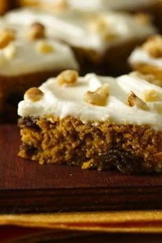 Surprise a gluten-free friend with bars full of cinnamon, ginger, raisins and nuts, and topped with cream cheese frosting.