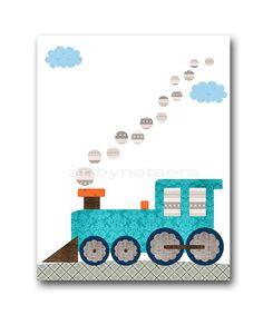 Baby Shower Gift Train Nursery Locomotive Baby Boy by artbynataera