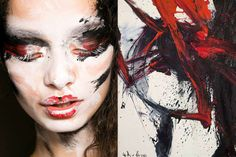 whereiseefashion:  Match #301 Make up at Vivienne Westwood Fall 2013 | Artwork by Kazuo Shiraga More matches here