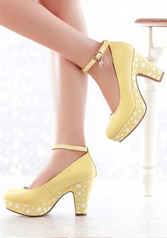 Polka Dot Sole High Heel Ladies Shoe,cute shoes,polka dots shoes,women's shoes,polka dots,vintage shoes,50s shoes,yellow shoes