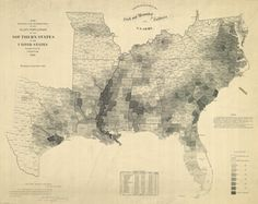 This map, made by the U. Coast Survey in 1861 using census data from shows the relative prevalence of slavery in Southern counties that year. The Map That Lincoln Used to See the Reach of Slavery Black Art, Civil War Photos, Old Maps, Interesting History, Historical Maps, American Civil War, American Union, American Art, African American History