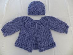 Baby sweater, crochet sweater with matching hat