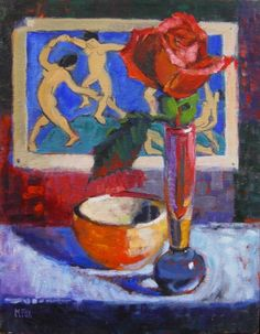 Matisse Paintings | Matisse Dancers & Rose, figurative oil painting, still life flower ...