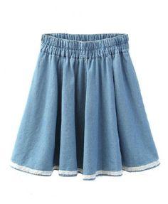 Drawstring Elastic Waist Denim Skirt with Pockets Details