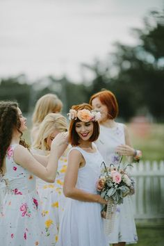 White Magazine: Issue Emma Soup Bridal Shoot photography by Justin Aaron. Flower Crown Veil, Flower On Head, Flower Crowns, Floral Bridesmaid Dresses, Flower Girl Dresses, Wedding Bouquets, Wedding Dresses, Wedding Outfits, Always A Bridesmaid