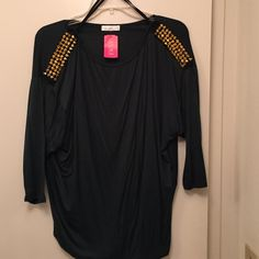 Shirt Hunter Green Top with Gold Spikes coming down the arm.... a'gaci Tops