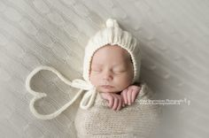 Baby Pixie Bonnett with Ribbing -- Cream -- Photography Prop