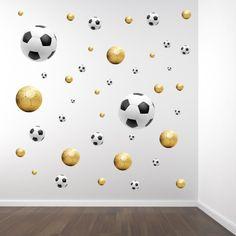 Muurstickerset voetballen goud