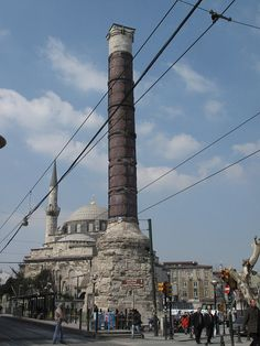 Istanbul - the column called Çemberlitaş, formerly the Column of Constantine, which stood in the middle of the Forum of Constantine. It was originally crowned with a statue of Constantine, but this fell down in 1106 and was replaced by a cross during the reign of Emperor Manuel Komnenos.