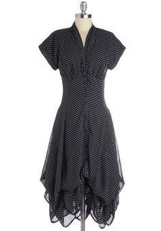 Best of the Bunch Dress - Black, White, Polka Dots, Buttons, Casual, Rockabilly, Vintage Inspired, A-line, Cap Sleeves, Better, V Neck, Chiffon, Woven, Steampunk, Halloween, Long, 90s