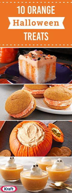 The Chic Technique: Orange Halloween Treats – Discover recipes for a Great Pumpkin Cake, Jack-o-Lantern Cake, Halloween Poke Cake, and more! No matter which dessert you choose, you can bet that this collection of recipes has you covered this fall. Recetas Halloween, Halloween Sweets, Halloween Food For Party, Fall Halloween, Women Halloween, Costume Halloween, Halloween Crafts, Halloween Makeup, Gastronomia