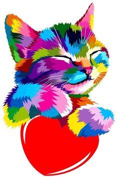 Colorful Animal Paintings, Colorful Animals, Cool Art Drawings, Arte Pop, Diy Canvas Art, Cat Art, Art Prints, Artwork, Cats