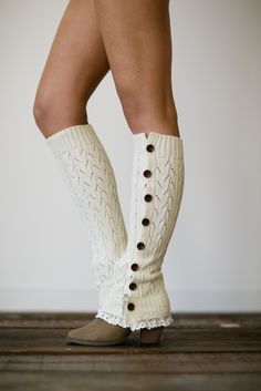 Lacy Leg Warmers Buttoned Up Lace leg warmers in apricot