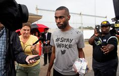 DeRay Mckesson talks to the media after being released from jail in Baton Rouge last week.