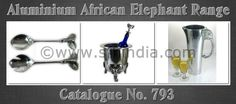 Cataloue No. 793 contains African Elephant Aluminium Collection.The Range contains Jug,Vase,Bowl,Tray,Wine Bucket,Salad Servers,Ice Bucket,Nut Bowl & many more. All our aluminium products are foodsafe .All our Aluminium products are handmade & buff high quality polished.The Product range can be customised as per our client requirement with Enamel finish,brass,nickel,copper plated. The range is designed by Mr. Mohd. Shahid (CEO).He visited South Africa & was inspired by African Elephant.