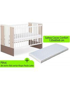 Patut si saltea Klups Paula Cribs, Toddler Bed, Latte, Furniture, Home Decor, Cots, Child Bed, Decoration Home, Bassinet