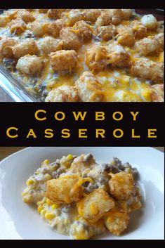 Cowboy Casserole Recipe: I added worcheshire sauce, parsley and chili powder to . Cowboy Casserole Recipe: I added worcheshire sauce, parsley and chili powder Healthy Potato Recipes, Mexican Food Recipes, Cauliflower Recipes, Cauliflower Tots, Chinese Recipes, Healthy Food, Tater Tots, Potatoe Casserole Recipes, Casserole Dishes