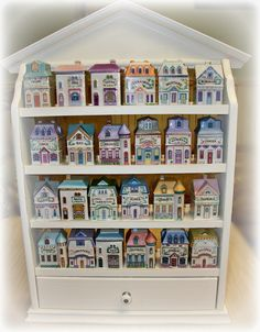 I've always wanted a set of these adorable little spice jars that mirror Victorian houses.My shabby chic kitchen really needs these. Romantic Shabby Chic, Shabby Chic Pink, Lenox Village, Shabby Chic Kitchen, Clean House, Home Kitchens, Home Improvement, Sweet Home, Spices
