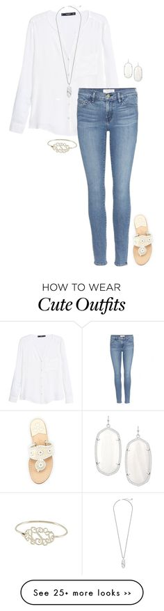 """""""cute outfit"""" by sassy-and-southern on Polyvore featuring MANGO, Frame Denim, Kendra Scott and Jack Rogers"""