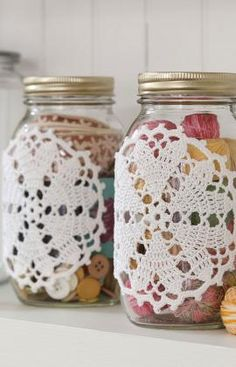 Hearts Desire Doily-ed jars. I can see these fancied up jars working great for craft supply storage.