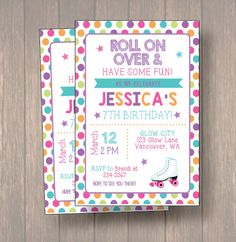 Roller Skating Invitation Roller Skate Party by Onthegoprints