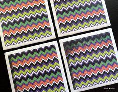Halloween Coasters Chevron Coaster Tile Coasters by KimLKrafts