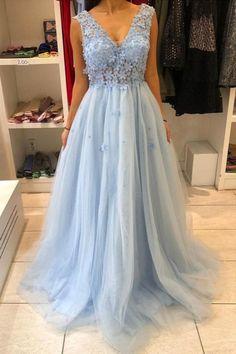 Blue V neck Evening Dresses Long Prom Dresses H4008 by Fashiondressy, $142.20 USD