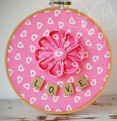 Full of Love handmade flower hoop art from VioletsBuds Scrabble Tile Crafts, Scrabble Letters, Floral Hoops, Handmade Hair Accessories, Fabric Jewelry, All You Need Is Love, Heart Print, Handmade Flowers, Envy