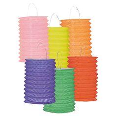 Assorterede Hængende Papirlanterne - Single. Flotte lanterner i assorterede farer - perfekt til havefesten, udendørsbryllup og gårdfesten!