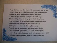 A few more rhyme ideas to go with my bridesmaid survival kits