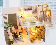 Wooden Dollhouse Kits, Dollhouse Furniture Kits, Diy Dollhouse, Home Furniture, Miniature Dollhouse, Wooden Furniture, Miniature Furniture, Mirrored Furniture, Furniture Layout