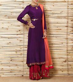 Purple Silk Kurta with Cotton Silk Sharara