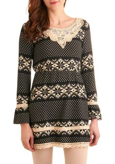 Be-cozy I Said So Dress - Print, Lace, Long Sleeve, Casual, Fall, Winter, Sack, Sweater Dress, Tan / Cream, Black, Short