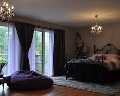 Black And Grey Bedroom Design, Pictures, Remodel, Decor and Ideas    I like the undercurtians and the use of the black...for my room!