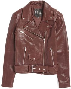 b2ac40d34cbb Veda Jayne Leather Jacket in Brown (Bordeaux) Patent Leather Boots