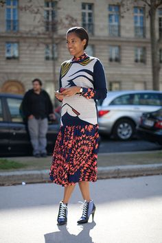 STREET STYLE SPRING 2013: PARIS FASHION WEEK - Tamu McPherson shows off the latest from Balenciaga in lace-ups.
