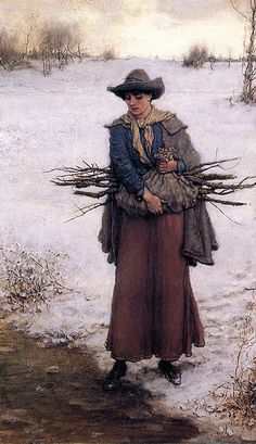 """""""Gathering Firewood in Winter"""" by George Henry Boughton (Anglo-American 1833-1905)"""