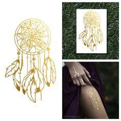 Gold Dream Catcher Native Feathers Metallic Temporary Jewelry Flash Tattoo