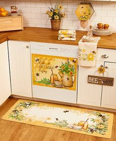 Refresh your kitchen decor with this bright and cheerful Honey Bee Kitchen Collection. The coordinating items all feature bee-themed artwork. Set the scene with - March 04 2019 at Farmhouse Style Kitchen, Modern Farmhouse Kitchens, Country Kitchen, New Kitchen, Coastal Kitchens, Eclectic Kitchen, Kitchen Dining, Kitchen Cabinets, Kitchen Themes