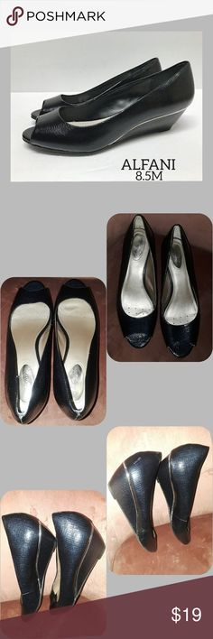 """Step N Flex Wedge ♡ALFANI♡ STEP N FLEX CAMMI BLACK OPEN TOE WEDGE SHOES  In good gently used condition. A couple minor scuff's, every angle of wedges shown in pic's ♡♡♡  Size 8.5M 2"""" heel wedge Alfani Shoes Wedges"""