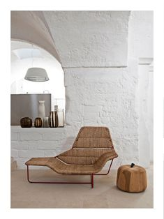 Texture: the white painted brick wall, the straw like material chair, and the texture of the floor making it look like a desert home with the sand. Room Interior Design, Interior Exterior, Furniture Design, Italian Home, Bohemian Interior, Back To Nature, Vintage Design, Living Spaces, Living Room