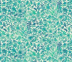 Floating Watercolor Garden in Emerald fabric by micklyn on Spoonflower - custom fabric