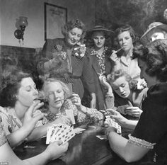Young GOP women take up cigars, spittoons, and endless rounds of poker to enjoy low-key 'smoker' on threshold of WWII